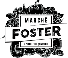 Logo Marché Foster avec fruits blanc